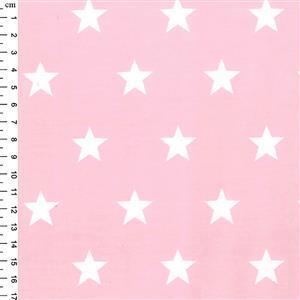 Rose & Hubble Cotton Poplin Pink Stars Fabric 0.5m