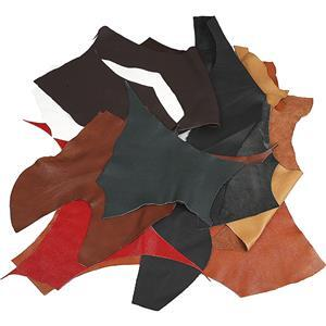 2kg Assorted Real Leather Fabric: Various Colours