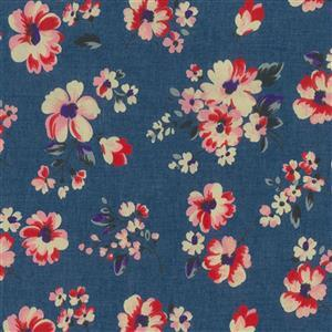 Red Floral Denim Print Fabric 0.5m