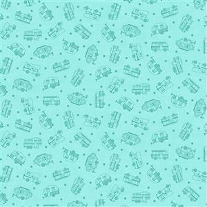 Roamin Holiday in Light Blue Silouhette Fabric 0.5m