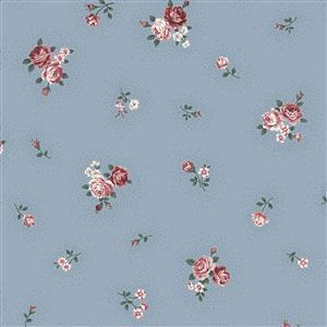 Emily Bouquets of Roses in Small Rose Blue Fabric 0.5m