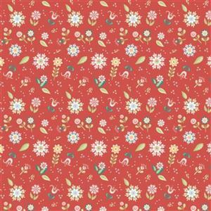 Poppie Cotton Chick-A-Doodle-Doo Pickin Daisies on Red Fabric 0.5m