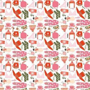 Poppie Cotton Snuggle Up Buttercup Favourite Things on White Fabric 0.5m Sewing Street exclusive