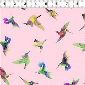 Flower Talk Hummingbirds on Pink Fabric 0.5m