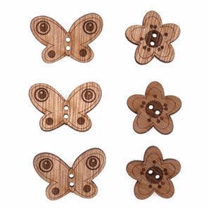 Wooden Buttons Butterflies Pack Of 6