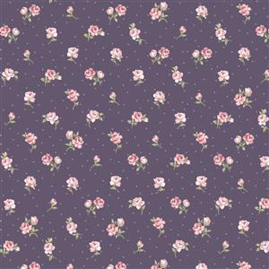 Vintage Rose on Purple Fabric 0.5m