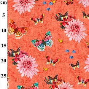 Butterflies Party on Coral Fabric 0.5m