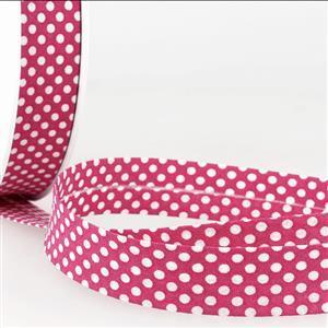 Bias Binding Cotton in Dot Fuschia 20mm x 1m