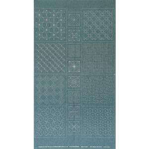 Sashiko Tsumugi Preprinted Geo 20 Light Blue Fabric Panel 108x61cm
