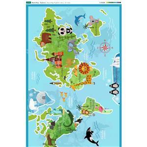 World Map Fabric Panel 140 x 117cm. Exclusive