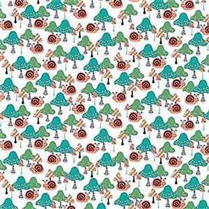 Owl's Woodland Adventure in Snail Fabric 0.5m