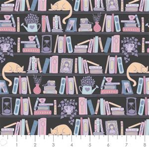 Literary Collection Shelfie on Charcoal Fabric 0.5m