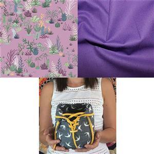 Michael Miller Purple Lovely Pouch Sewing Kit: Pattern & Fabric (1m)