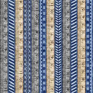 Dan Morris A Little Handy Tape Measure Workshop Navy Fabric 0.5m