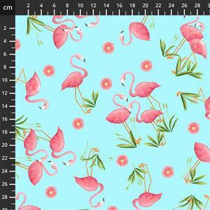 Let's Flamingle Sky Blue Flamingo Fabric 0.5m