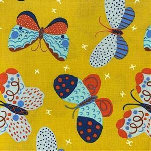 Homeward in Mustard Butterflies Fabric 0.5m