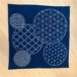 Sashiko Mixed Pattern Fabric Panel: 30x30cm (12 x 12