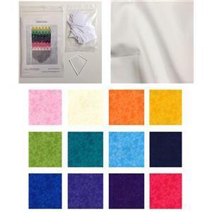Rainbow Paper Kites Cushion Kit: Pattern, F8 (12pcs) & Fabric (0.5m)