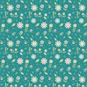 Poppie Cotton Chick-A-Doodle-Doo Pickin Daisies on Teal Fabric 0.5m UK exclusive