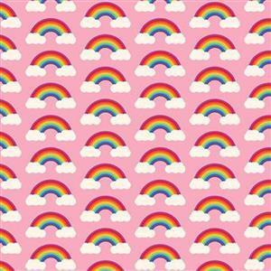 Rainbows Small on Pink Fabric 0.5m
