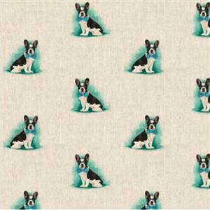 French Bull Dog All-Over Linen Look Fabric 0.5m