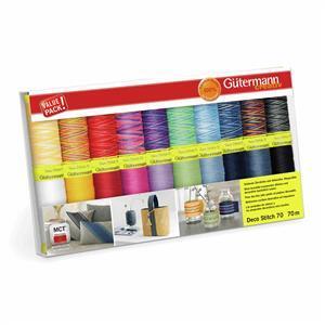 Gutermann Deco Stitch 70 Thread Set Assorted Colours 20 x 70m: Assorted