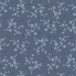 Vintage Roses in Blue Fabric 0.5m