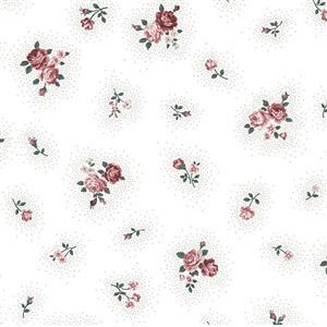 Emily in White Vintage Rose Fabric 0.5m