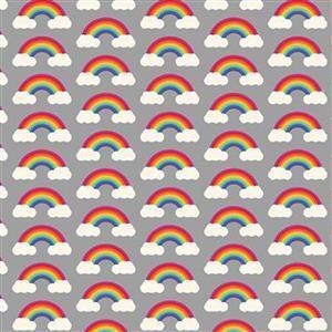 Rainbows Small on Grey Blue Fabric 0.5m
