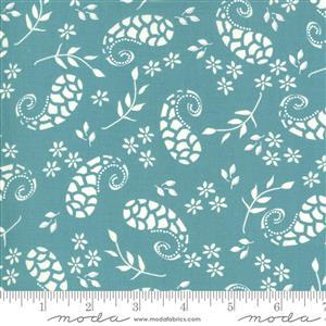 Moda Balboa by Sherri & Chelsi White Paisley on Light Blue Fabric 0.5m