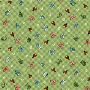 Henry Glass Backyard Happenings in Green Lady Bird Fabric 0.5m