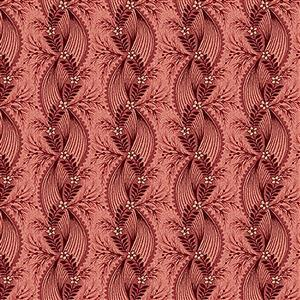 Henry Glass Tarrytown Twisted Ribbon on Red Fabric 0.5m