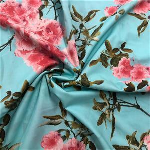 Blossom Reflections Aqua Fabric 0.5m