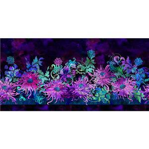 Floragraphix V by Jason Yenter Floral on Purple Fabric 0.5m