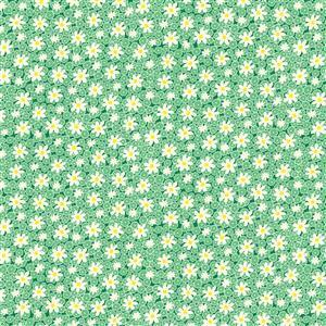 Henry Glass Nana Mae V Green Packed Daises Fabric 0.5m