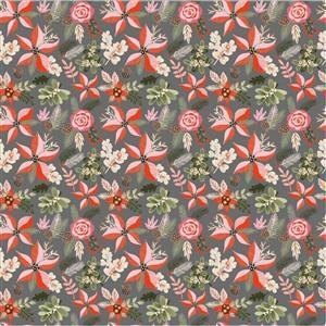 Poppie Cotton Snuggle Up Buttercup Poins & Pines on Grey Fabric 0.5m Sewing Street exclusive