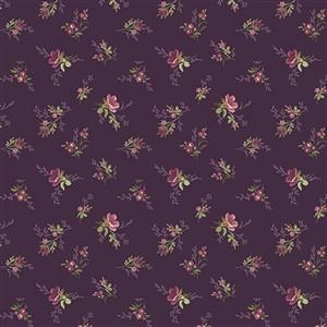 Riley Blake Anne of Green Gables Eggplant Floral Dots Fabric 0.5m