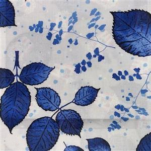 Lapis Leaves 1 White Fabric 0.5m