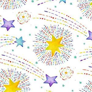 Stay Wild Moon Child in Shooting Stars on White Fabric 0.5m
