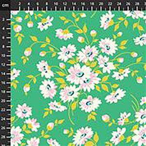 True Kisses Dream Floral on Green Fabric 0.5m