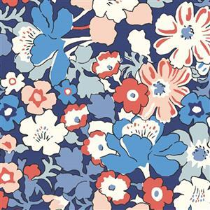 Liberty Carnaby  Collection Westbourne Posy Red and Blue Fabric 0.5m