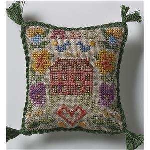 The Cross Stitch Guild Little Sampler Pincushion on Linen