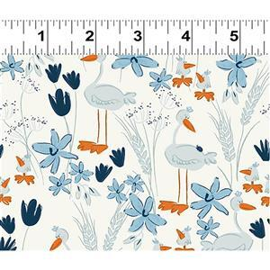 Blue Goose Duck White Geese Fabric 0.5m