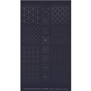 Sashiko Tsumugi Preprinted Geo 20 Black Fabric Panel 108x61cm