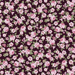 Juliet Roses on Burgundy Fabric 0.5m