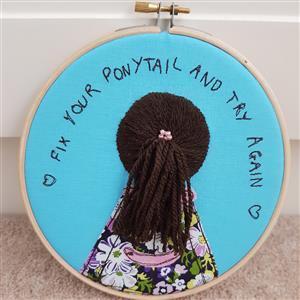 Helen Newton Brunette Ponytail Embroidery Kit: Instructions, Fabric & Haberdashery