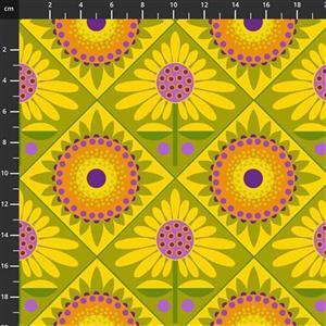Sassy Summer Salsa Yellow Retro Flower Fabric 0.5m