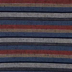 Shimamomen Striped Yarn Dyed Slate Blue Russett Grey  Fabric 0.5m