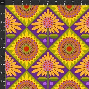Sassy Summer Salsa Purple Retro Flower Fabric 0.5m