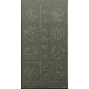 Sashiko Tsumugi Preprinted Kamon 19 Dark Green Fabric Panel 108x61cm